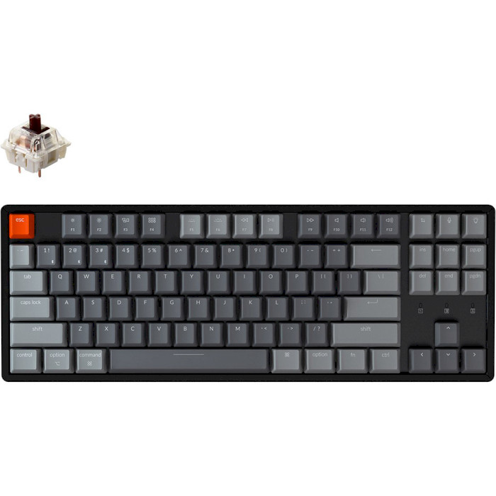 Клавіатура бездротова KEYCHRON K8 Aluminum Frame RGB Gateron Brown Hot-swappable Switches