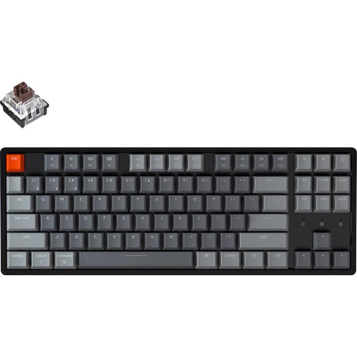 Клавіатура бездротова KEYCHRON K8 Aluminum Frame RGB Optical Brown Switches