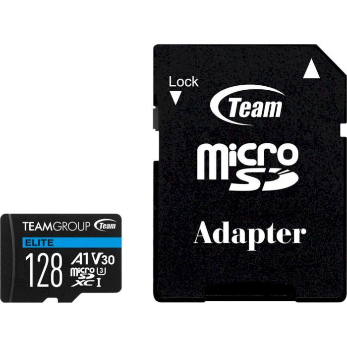 Карта пам'яті TEAM microSDXC Elite 128GB UHS-I U3 V30 A1 Class 10 + SD-adapter (TEAUSDX128GIV30A103)
