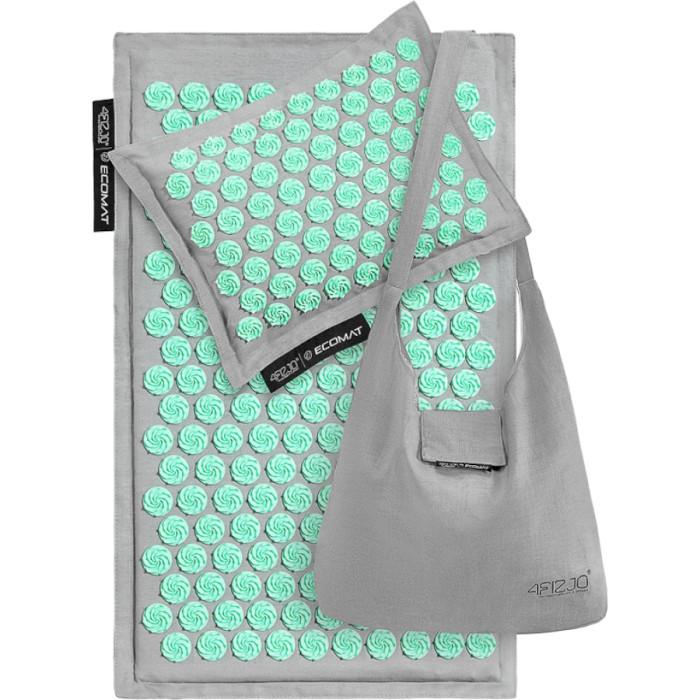 Акупунктурний килимок (аплікатор Кузнєцова) з подушкою 4FIZJO Eco Mat 68x42cm Gray/Mint (4FJ0230)